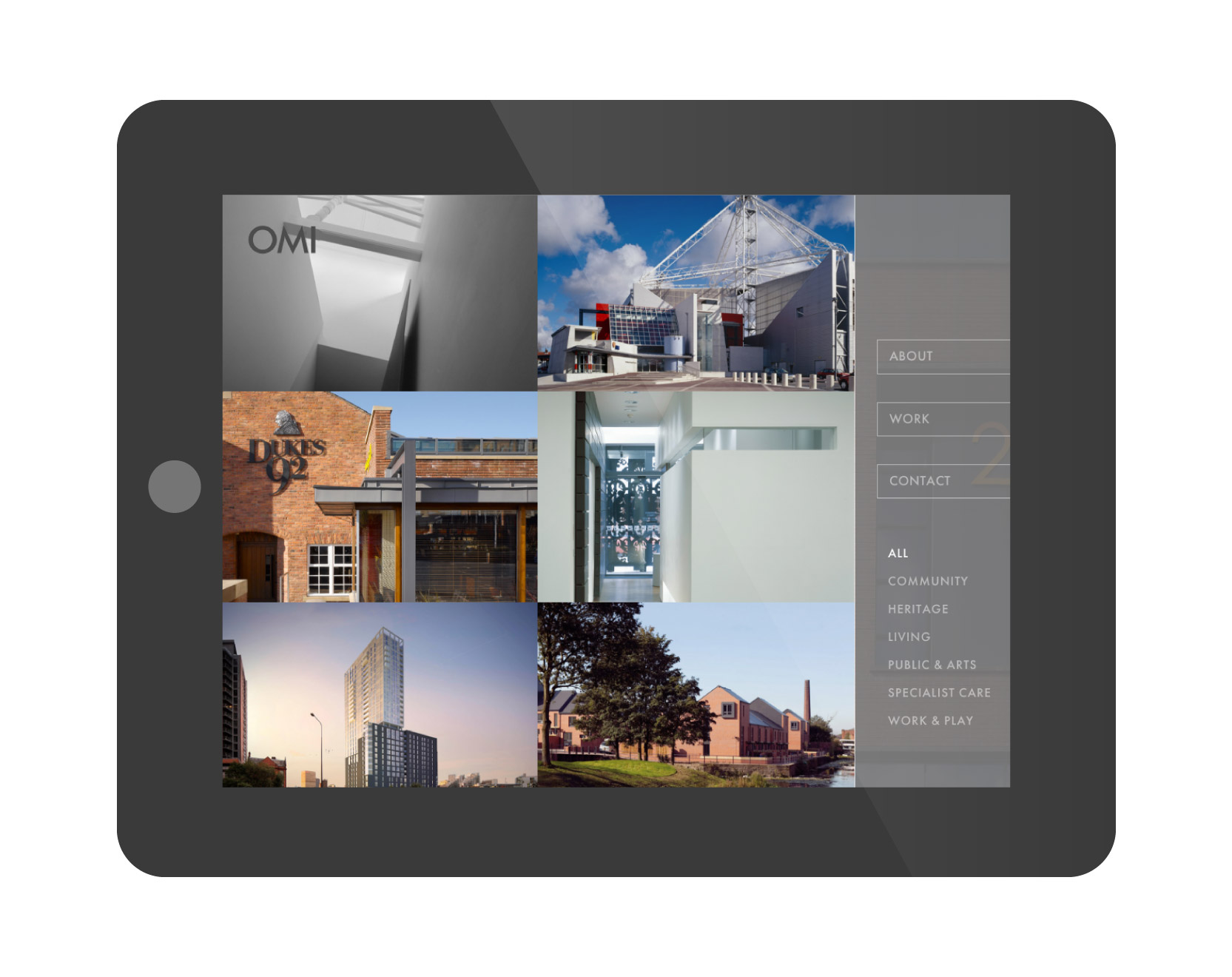 OMI Architects website tablet