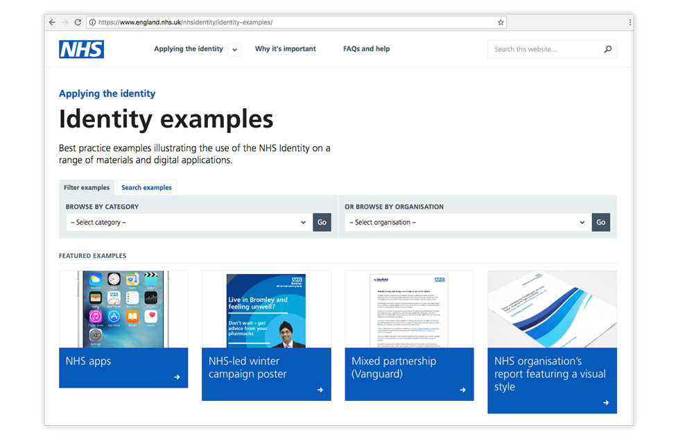 NHS identity examples 2017